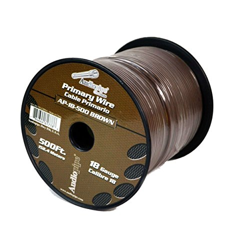Audiopipe Brown 500' Feet 18 Gauge AWG Car Audio Primary Power Cable Remote Wire (Brown Speaker Wire compare prices)