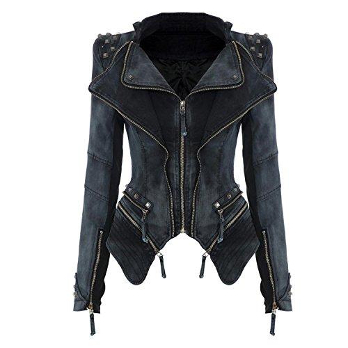 Femme Rivets Casual Style Jean en de Blousons Moto Punk Favoridol Veste Blazer Manteau Automne Amincissant Gris dXxq8T8Hw