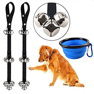 Potty Bells Dog Bells for Puppy Potty Training, CATOOP Adjustable Dog Bell Doorbells for Puppy Dog Training with Collapsible Travel Dog Bowl Portable Cat Pet Bowls, Lifetime Replacement Guarantee