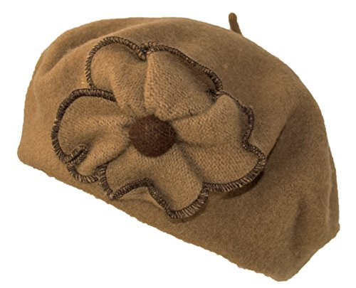 HatQuarters Warm Wool Beret Hat with Flower Accent, Winter French Beret Cap Women (Camel)