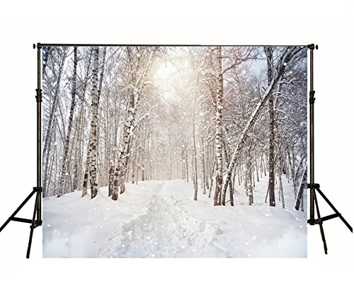 7x5ft White Snow Covered White Birch Photography Backdrop Winter Christmas Photo Background