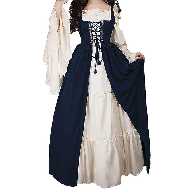 Mangas Largas Vestido Medieval de Mujer, Retro Renacentista Estilo Victoriano Vestido Largo con Cordon Vestidos