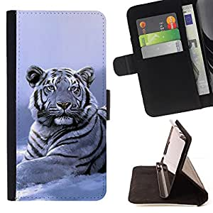- Winter Snow Tiger White Blue Cold - - Prima caja de la PU billetera de cuero con ranuras para tarjetas, efectivo desmontable correa para l Funny HouseFOR Samsung Galaxy S6