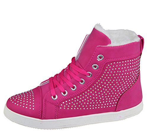 FLAT Fuchsia PUMPS LACE HI DIAMANTE HIGH TRAINERS SHOES BOOT TOPS LADIES GIRLS UP WOMENS dOqxad