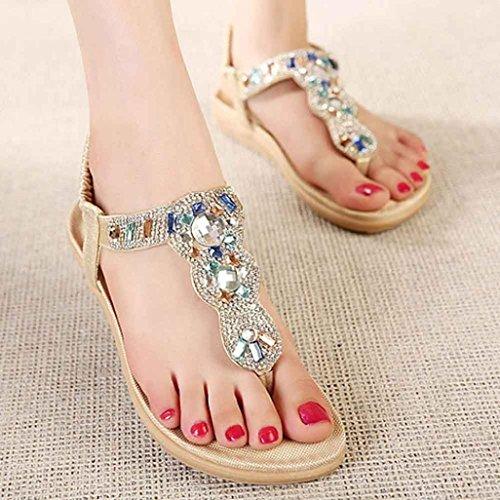 Rcool Damen Mode Süße Perlen Clip Toe Flats Böhmischen Fischgrät Sandalen Gold