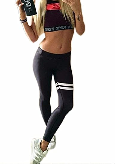 9b8445b16a CFR Women's Yoga Pants Fashion White Strips Fitness Leggings Sport Trousers  for Running Crossfit Gym L&XL