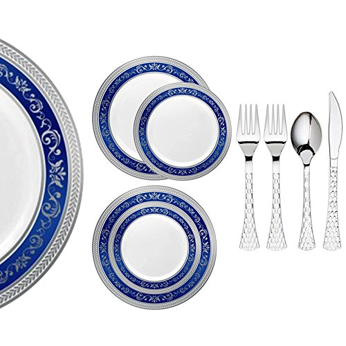 Royalty Settings Royal Collection Premium Plastic Plates for Parties for 40 Persons, Includes 40 Dinner Plates, 40 Salad Plates, 80 Forks, 40 Spoons, 40 Knives, Blue/Silver