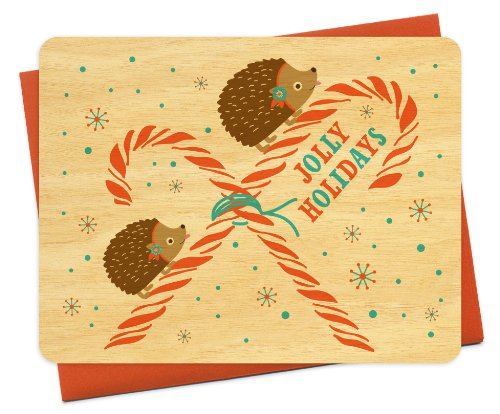 Peppermint Hedgie Wood Holiday Cards, 6-Pack by Night Owl Paper Goods