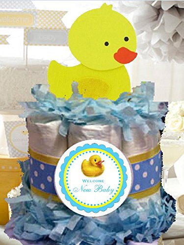 Rubber Ducky Duck Mini Diaper Cake - Handmade By LMK Gifts - Gift For Baby or Girl - Makes a Great Baby Shower Centerpiece by LMK Gifts