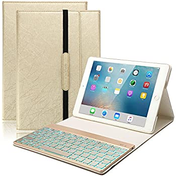 iPad 9.7 Keyboard Case, BoriYuan 7 Colors Backlit Wireless Bluetooth Keyboard with PU Leather Stand Smart Cover for Apple iPad 9.7 2017 with Magnetic Auto Sleep/ Wake Feature (Gold)