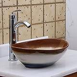 ELITE Oval Multicolor Glaze Porcelain Ceramic Bathroom Vessel Sink & Chrome Single Lever Faucet Combo