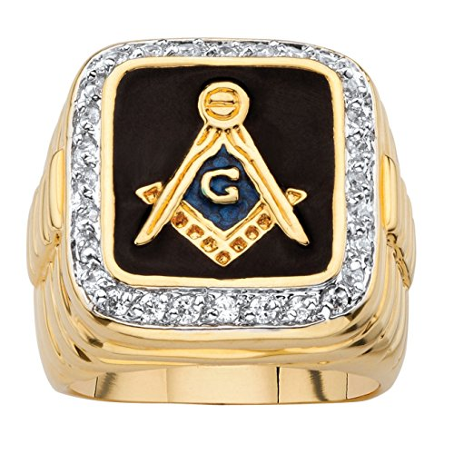 (Palm Beach Jewelry Men's Black Enamel and Cubic Zirconia 14k Yellow Gold-Plated Masonic Ring Size 12)