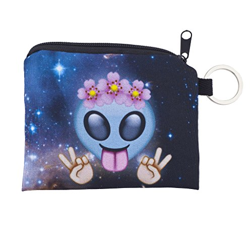 Lux Accessories Hippie Flower Crown Peace Sign Alien Galaxy Print Makeup ()