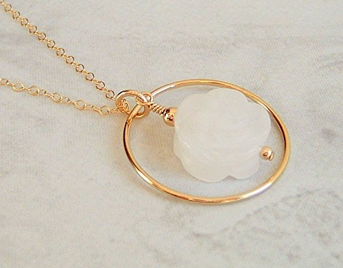 White Carved Rose Flower Quartz Round Circle Hoop Framed Pendant 18 Inch Gold Filled Necklace Gift Idea