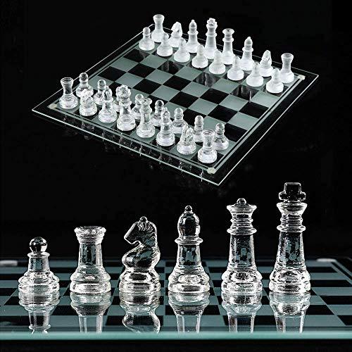 High-End Cristal juego de ajedrez, K9 transparente tarjeta de cristal y vidrio transparente, piezas de ajedrez, de fondo…