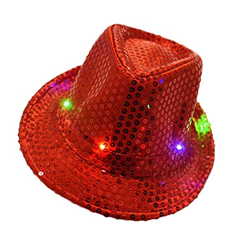 (LED Light Up Flashing Fedora Hat - Various Colors by Mammoth Sales (Red))