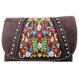 American Bling Clutch Crossbody Shoulder Handbag Built in Wallet (Coffee Floral)