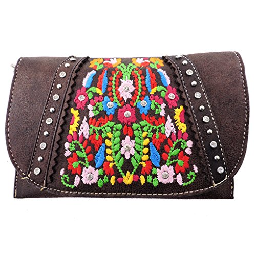 American Bling Clutch Crossbody Shoulder Handbag Built in Wallet (Coffee Floral) by Montana West