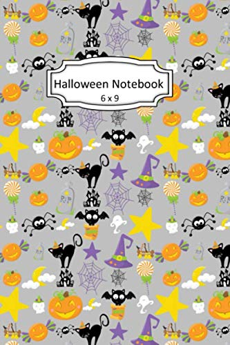 Halloween Black Cats Clipart (Halloween Notebook: Black Cats and Candy Clip Art Images on 6 x 9 Blank Lined Softcover Journal for Notes , Halloween Gift Design Cover Note)