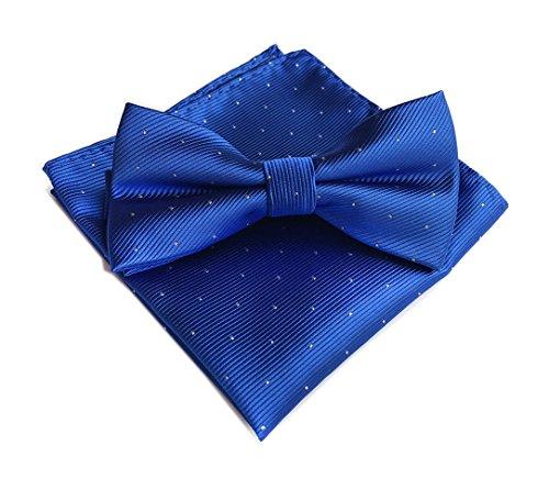 Men's Plaid Polka Dot Jacquard Self-Tied Bow Ties & Handkerchief Set Royal Blue (Green And White Polka Dot Bow Tie)