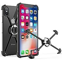 OATSBASF iPhone x/xs対応 バンパー アルミ ブラック ケース リング付き 衝撃 吸収 メタルフレーム [二重保護] スタンド機能(X用, 黒1)