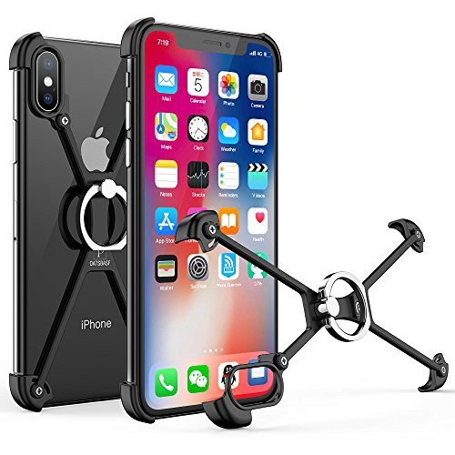 OATSBASF Bumper Case for iPhone X, Slim Aluminum Metal X-Frame Phone Bumpers with Ring Holder & Screw