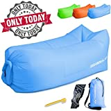 Inflatable Lounger Air Chair – Best Furniture for Camping Traveling Hiking Beach – Used as Sofa Couch Hammock Blue