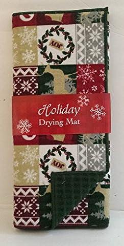 Christmas Holiday Dish Drying Mat: Noel Joy Stocking Snowflake Reindeer Motif - Joy Stocking