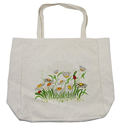 Lunarable Nature Shopping Bag, Spring Flowers Chamomiles Daisy Field with Cheerful Ladybugs Cartoon, Eco-Friendly Reusable Bag for Groceries Beach and More, 15.5