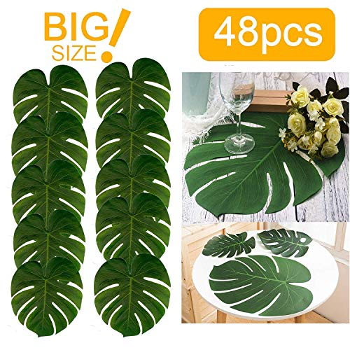 48pcs Large Artificial Tropical Palm Leaves,13.8 by 11.4 inch,Hawaiian Luau Party Jungle Beach Theme Decorations for Table Decoration -