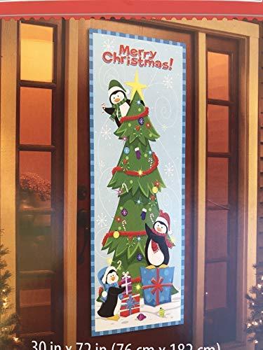 Christmas Door Cover Santa Hanging Lights, Christmas Present, Santa & Elves (Penguins Decorating -