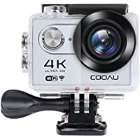 "COOAU 4K Full HD Action Camera Sport Cam WiFi, 2"" inch LCD Screen 170° Wide Angle Lens Outdoor Camcorder for Bike Surfing Skiing Climbing with Portable Case and Kit of Accessories, Silver"