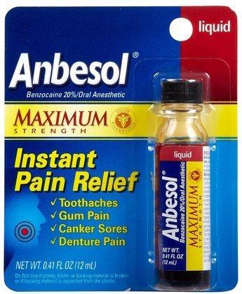 Anbesol Maximum Strength Oral Pain Relief Liquid-0.41 oz (Quantity of 5)