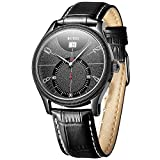 BUREI Men's Black Classic Quartz Watch Analog Display Synthetic Sapphire Glass and Genuine Leather Strap