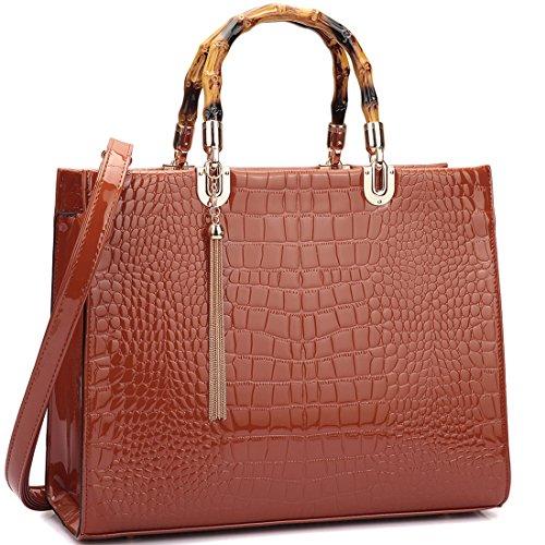 Embossed Front Pocket Tote Handbag (Dasein Structured Wooden Handle Handbags Designer Shoulder Bag Tote Satchel Laptop Bag)