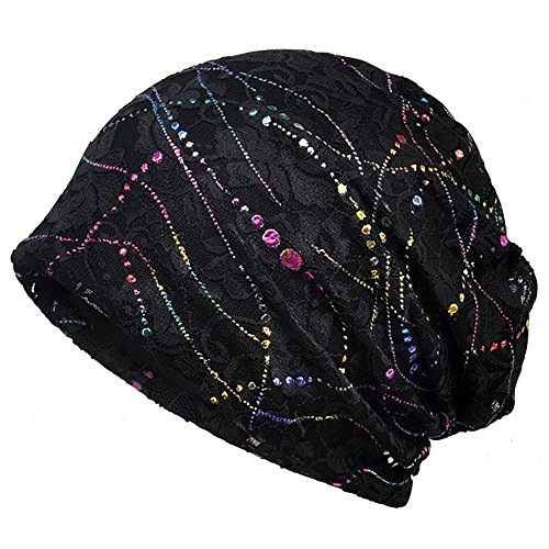 (Baggy Slouchy Beanie Bling Hat for Women Chemo Cancer Hat Soft Sleep Cap Black 1 )