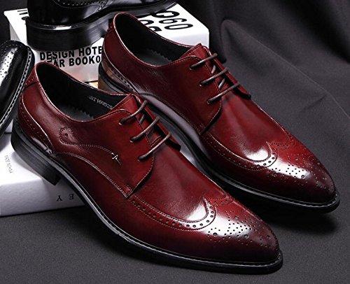Happyshop (tm) Stringate In Pelle Da Uomo Brogue Scarpe Derby In Pelle Scamosciata Oxford Vestito Elegante Rosso Vino