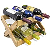 : Sorbus Bamboo Foldable Countertop Wine Rack 6-bottles (Bamboo)