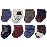 Hudson Baby Basic Socks, 8 Pack, Mustache, 0-6 Months