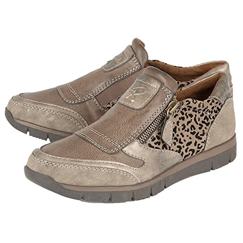 LADIES LOTUS RUTO BRONZE LEOPARD PRINT SIDE ZIP CASUAL SHOES 50722 SIZES 4 - 7-UK 4 (EU 37)