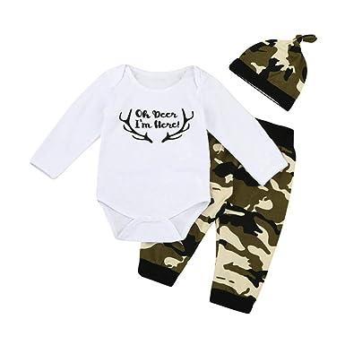 47682220ce582 Kinlene bébé 3Pcs Enfant en Bas âGe BéBé GarçOn Fille Lettre VêTements Mis  Barboteuse + Pantalons + Chapeau Tenues