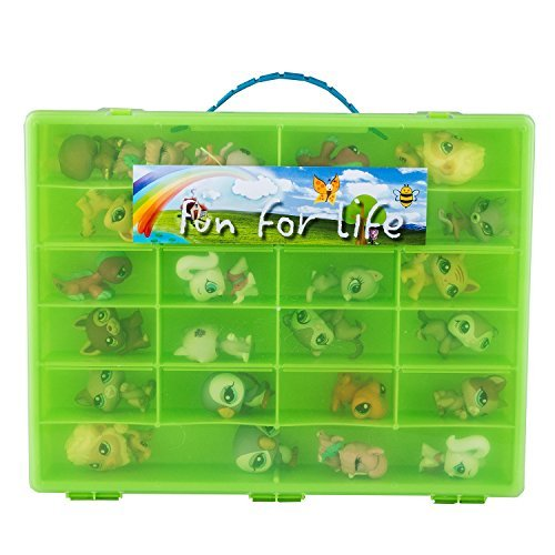 Fun For Life Storage Case for 60 Littlest Pet Shop and Uggly Characters, Lime/Green