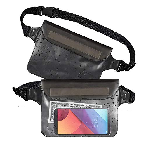 Waterproof Fanny Pack (Set of 2), Waterproof Phone Pouch Waist Bag, Dry Bag Waist Pack for Travel & Cruise Essentials, Waterproof Beach Bag, Waterproof Passport Holder, Swimming Pool Bag & Money Belt