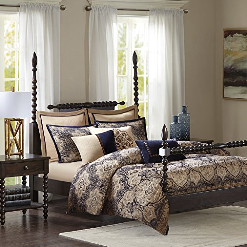 Madison Park Signature Wellington King Size Bed Comforter Duvet 2-In-1 Set Bed In A Bag - Tan Blue, Jacquard – 9 Piece Bedding Sets – Ultra Soft Microfiber Bedroom Comforters ()