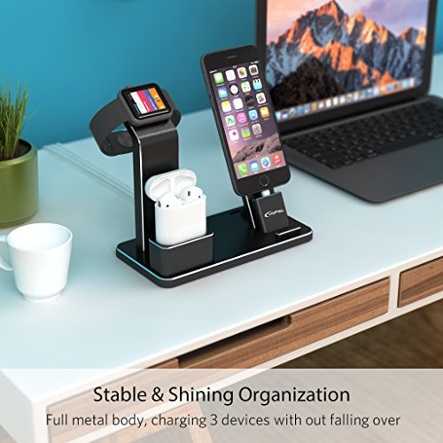 YoFeW Charging Stand for Apple Watch Aluminum Watch Charging Stand Dock Holder for iWatch Apple Watch Series 3/2 / 1/ AirPods/iPhone X /8 / 8Plus / 7/7 Plus /6S /6S Plus/iPad by YoFeW (Image #2)