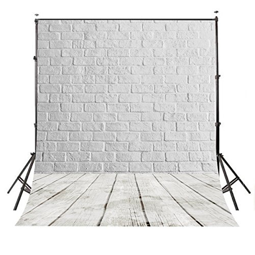 LYLYCTY 5X7ft White Brick Backdrop Wall Wood Floor Photography Background theme Background Vintage Texture Wood Photo Studio Backdrop Props PB1488 by LYLYCTY