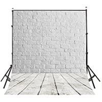 LYLYCTY 5X7ft Photography Background White Brick Wall Wood Floor theme Backdrops Photo Studio Backdrop Props LY028