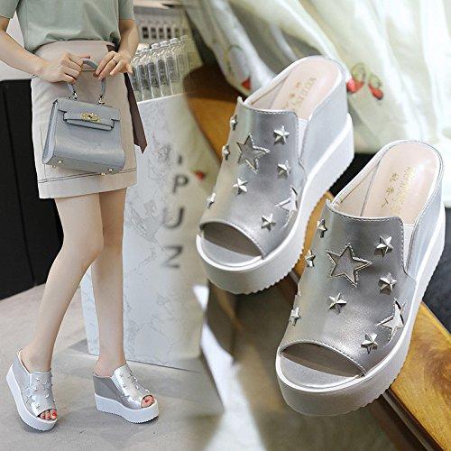 Zeppa Casual Silver Pantofole Con Spesse LINYI Da Aperte Suola Donna Suole Con Scarpe gxHnvUvF8q