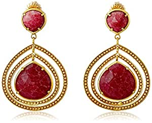 "Coralia Leets Jewelry Design ""Riviera"" Double Frame 20mm Ruby Stone Post Earrings"