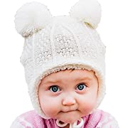 Twinklebelle Warm Cute Baby Boy Fall Winter Earflap Beanie Hat (S: 3-9 Months, Cream Bear)